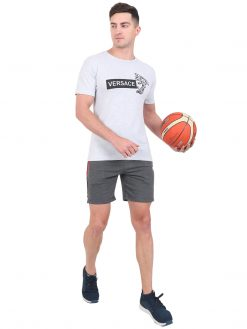 MANHOOD Men's Cotton Regular Fit Striped Casual Sports Shorts with Pockets